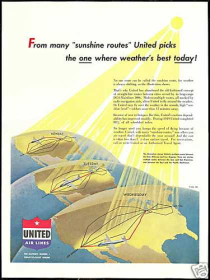 United Airlines Long Range DC-6 Mainliner Plane (1950)