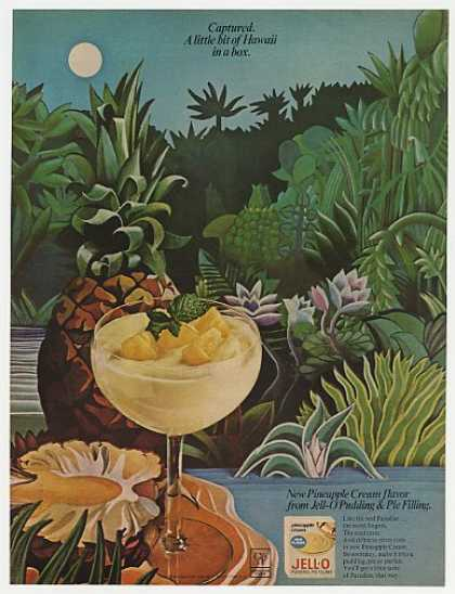 Jello Jell-O Pineapple Cream Pudding Hawaii art (1967)