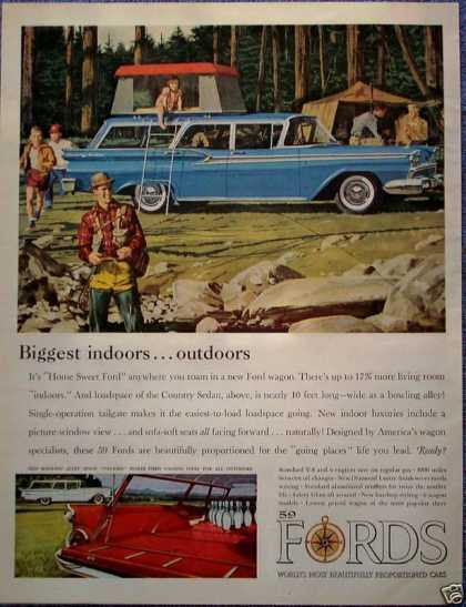 Ford Country Sedan Station Wagon Tent On Top Camp (1959)
