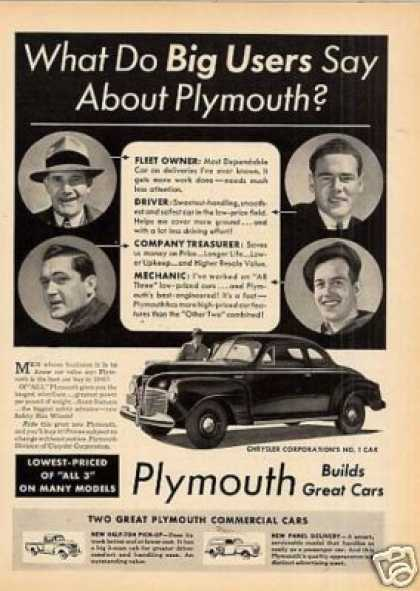"Plymouth Car Ad ""What Do Big Users... (1941)"