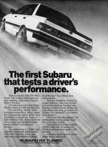 Subaru Rx 4wd Turbo Tests Driver's Performance (1985)
