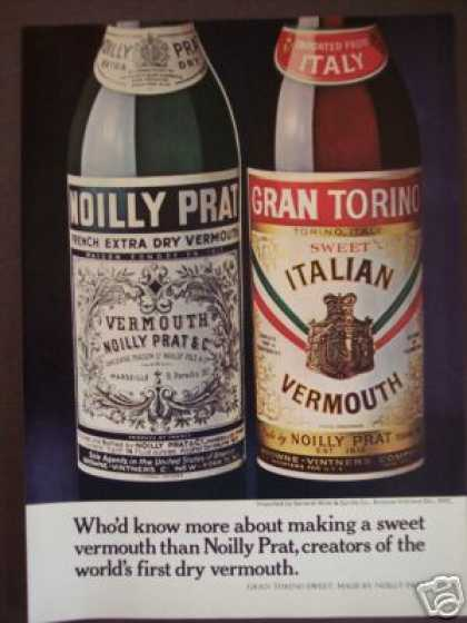 Noilly Prat Grand Torino Sweet Vermouth Photo (1970)
