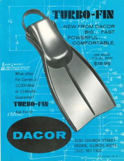 Dacor Turbo Fin Scuba Diver Diving (1968)
