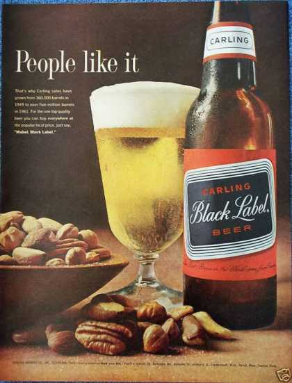 Carling Black Label Beer Bowl Mixed Nuts Pecans (1962)