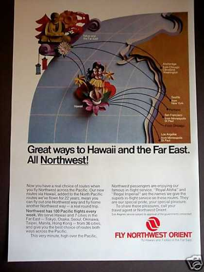 Northwest Orient Airline Hawaii Far East Travel (1969)