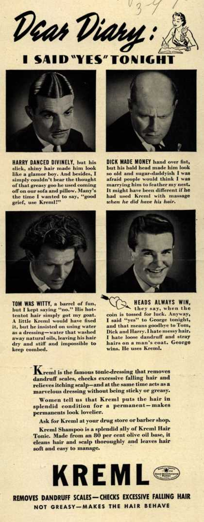 "Kreml's hair tonic – Dear Diary: I Said ""Yes"" Tonight (1940)"