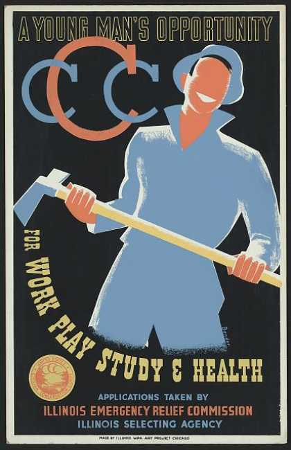 A young man's opportunity for work, play, study & health / Bender ; made by Illinois WPA Art Project, Chicago. (1941)