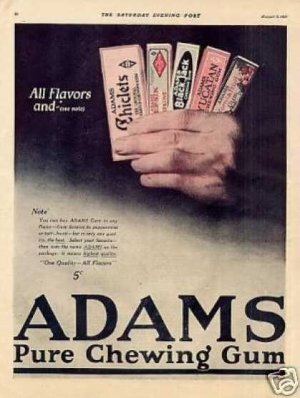 Adams Chewing Gum Color (1921)
