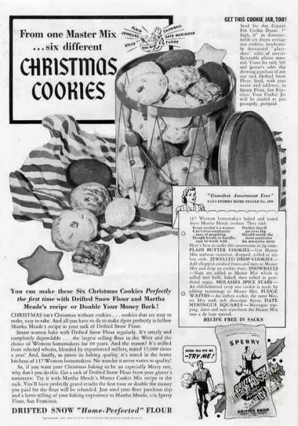 Drifted Snow Flour Christmas Cookies Recipes (1940)
