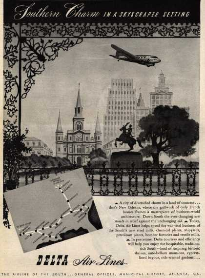 Delta Airline's New Orleans – Southern Charm in a Skyscraper Setting (1945)