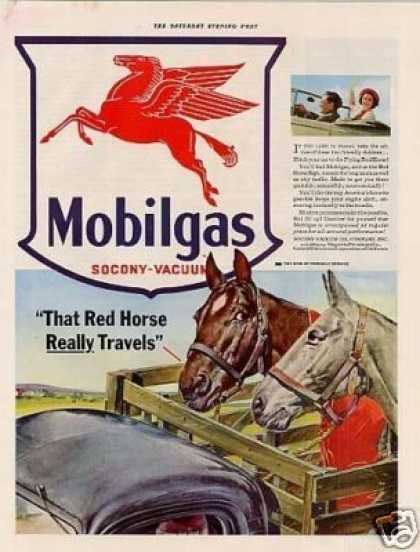 "Mobilgas Ad ""That Red Horse Really Travels... (1941)"