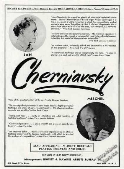 Jan Cherniavsky Piano Mischel Cello Booking (1944)