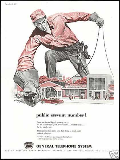 Big General Telephone System Lineman Lupo Art (1956)