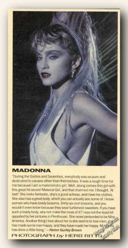 Madonna Picture & Comment Print Feature (1986)