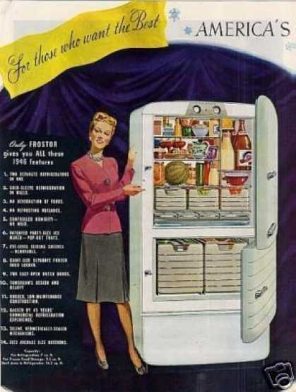 Frostor Refrigerator Ad 2 Page (1945)