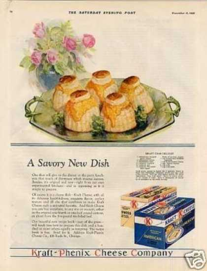"Kraft Cheese Color Ad ""A Savory New Dish... (1928)"