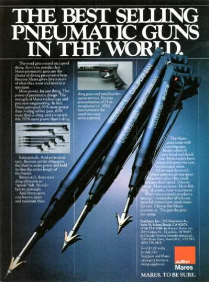 Amf Mares Pneumatic Diving Spear Guns 6 Models (1981)