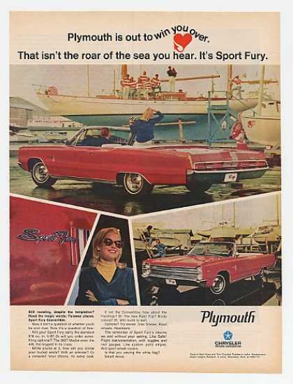 Red Plymouth Sport Fury Convertible Boat Dock (1967)