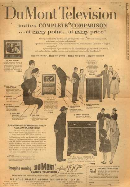 Allen B. DuMont Laboratorie's Television – DuMont Television invites Complete Comparison... at every point... at every price (1953)