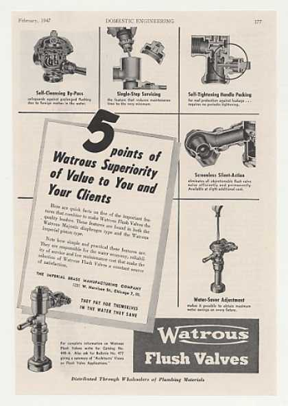 Watrous Flush Valves 5 Important Feature Trade (1947)