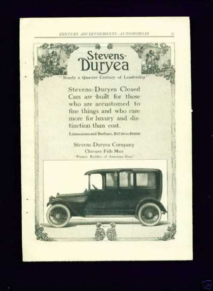 Stevens Duryea Closed Car Ad Art Nouveau Rare (1913)