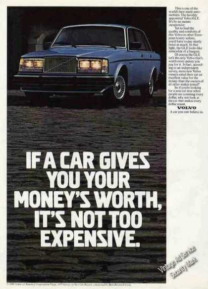 Volvo Gle If a Car Gives You Your Money's Worth (1981)