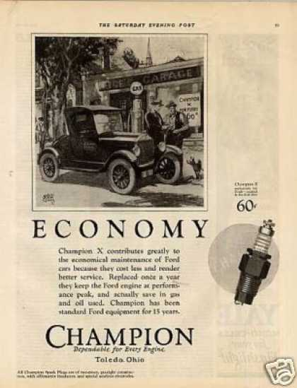 Champion Plugs Ad Ford Car (1926)