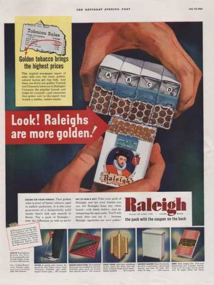 Raleigh Pack With Coupon Cigarette Print A (1941)