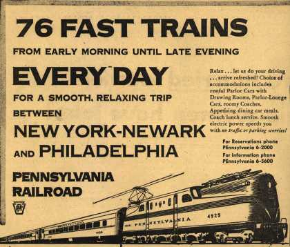 Pennsylvania Railroad's New York-Newark-Philadelphia – 76 Fast Trains From Early Morning Until Late Evening Every Day For A Smooth, Relaxing Trip Between New York-Newark And Philadelphia (1953)