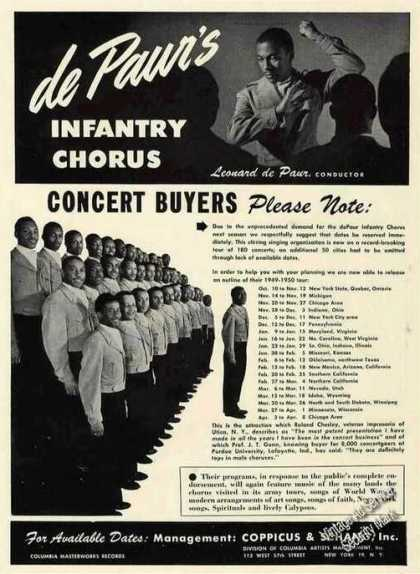 De Paur's Infantry Chorus Photo & Tour Schedule (1949)