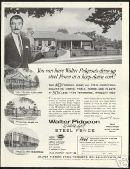 Walter Pidgeon Photo Steel Products Fence (1959)