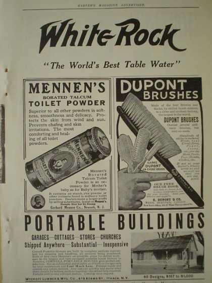 White Rock Table Water AND Dupont Brushes AND Mennen's toilet powder (1910)