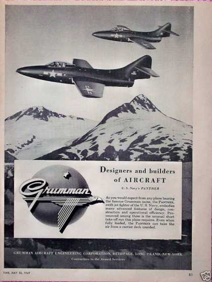 Gruman US Navy Panther Jet Fighter Mountains (1949)