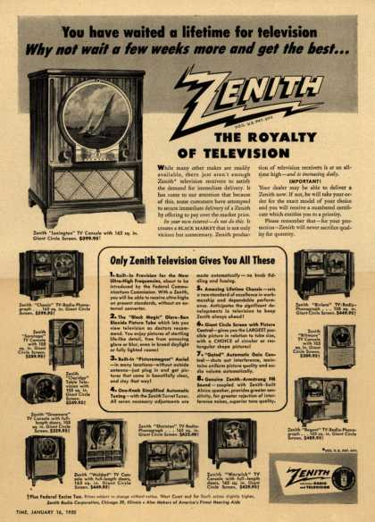 Zenith Radio Corporation's Giant Circle Screen models – You have waited a lifetime for television. Why not wait a few weeks more and get the best... Zenith The Royalty of Television (1950)