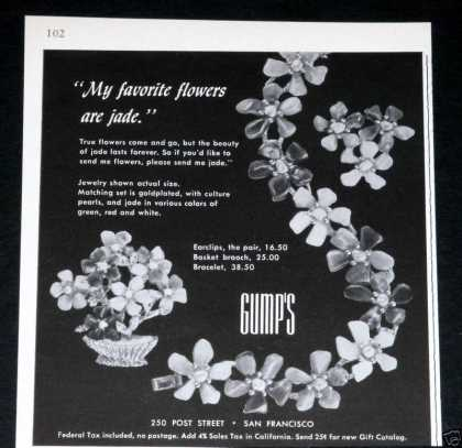 Old , Gump's, Jade Flower Jewelry (1964)