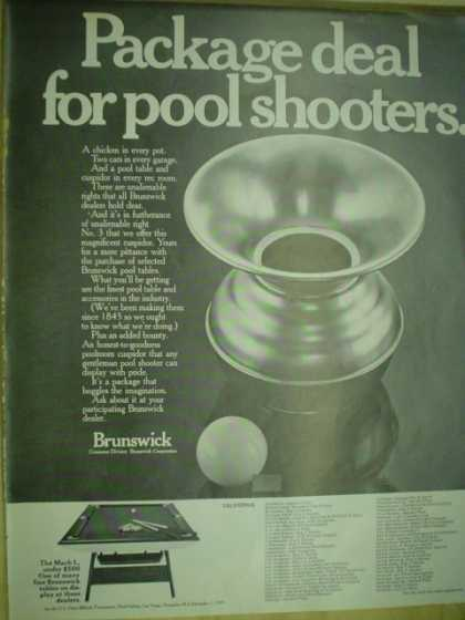 Brunswick pool tables. Package deal for pool shooters (1969)
