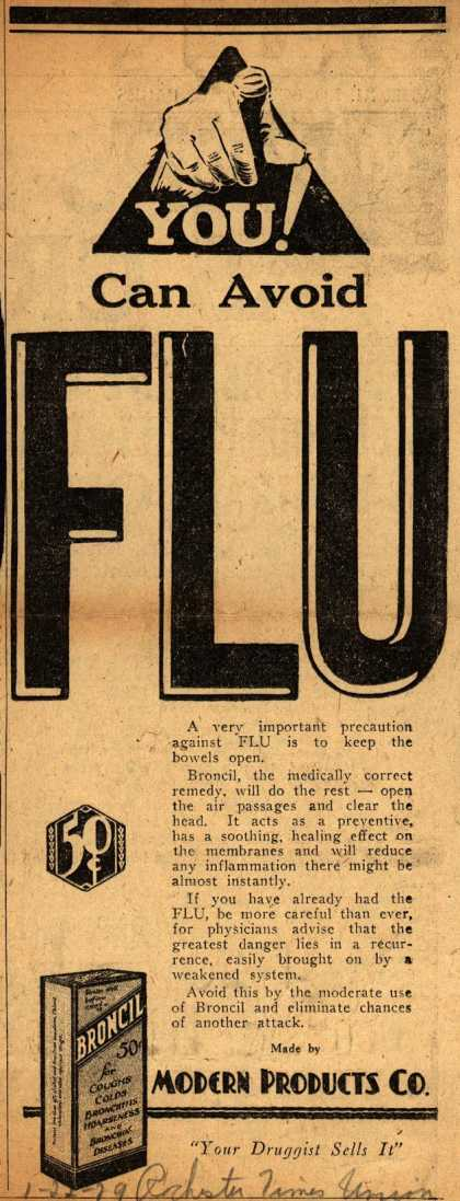 Modern Products Company's Broncil – You! Can Avoid Flu (1929)
