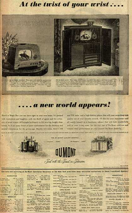 Allen B. DuMont Laboratorie's Television – At the twist of your wrist... a new world appears (1948)