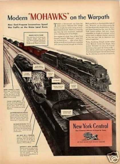 New York Central Ad Mohawks On the Warpath... (1944)