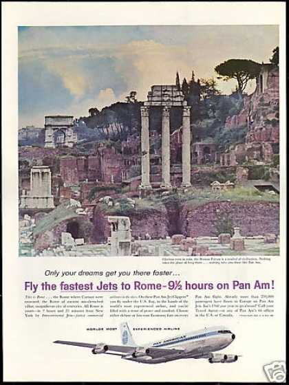 Pan Am Airlines Rome Roman Forum Photo Vintage (1960)