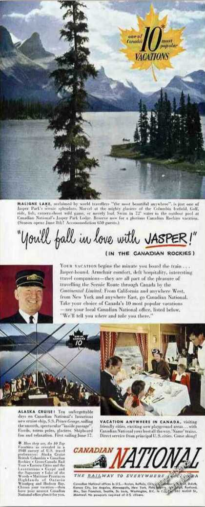 Canadian National Railway Ad Maligne Lake Jasper (1949)