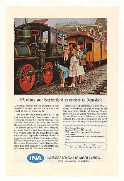 Disneyland Train INA Insurance Co North America (1963)