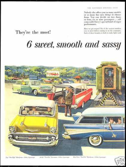 Chevrolet Assorted Station Wagon 2 Page Art (1957)