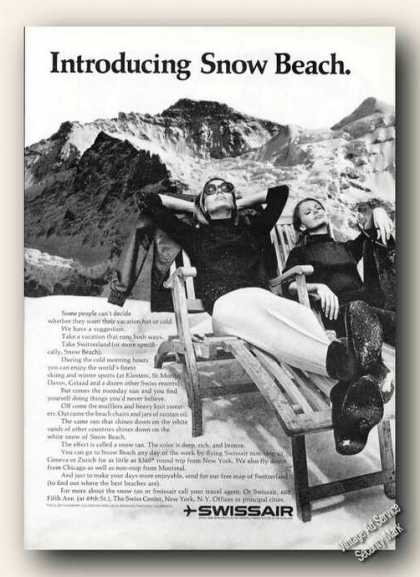 Sunbathing In the Alps Swissair Travel (1966)