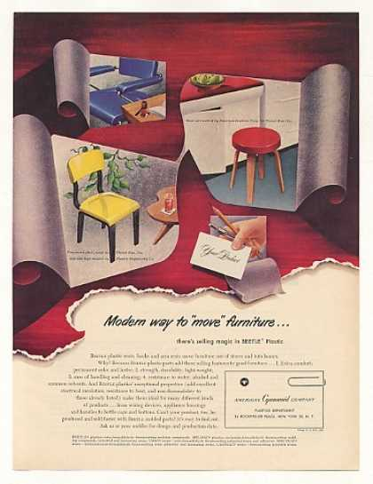 Thonet Bros Cyanamid Beetle Plastic Chair Stool (1949)