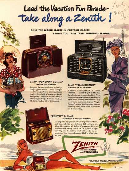 Zenith Radio Corporation's Portables – Lead the vacation Fun Parade – take along a Zenith (1949)