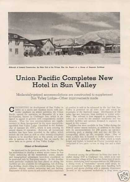 """U.p. Completes New Hotel In Sun Valley"" Article (1938)"