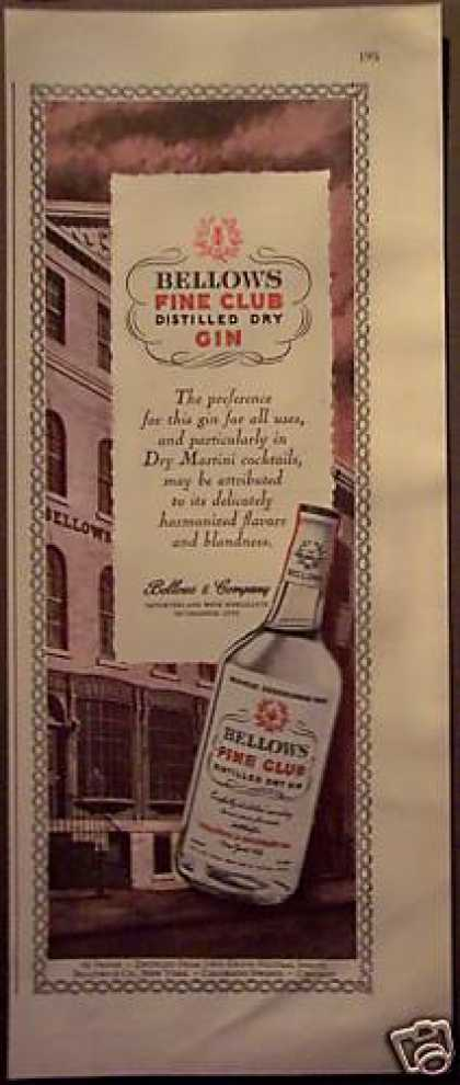 Original Bellow's Fine Club Dry Gin (1948)