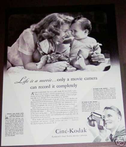 Cine Kodak Movie Camera Mom & Baby Photo (1940)