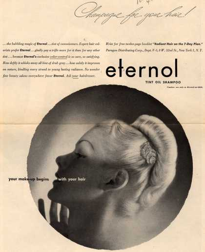 Paragon Distributing Corporation's Eternol Tint Oil Shampoo – Champagne for your hair (1945)